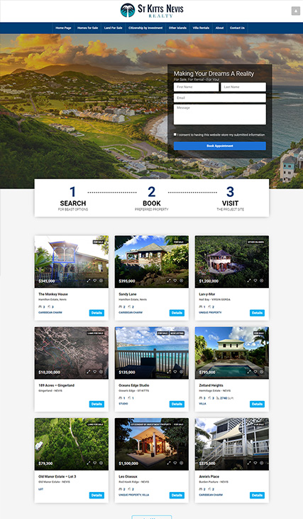 Real Estate Website Development - St. Kitts and Nevis Realty