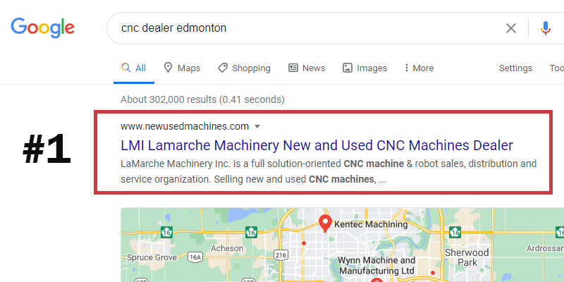 Edmonton Local SEO Results number 1